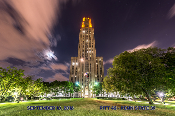 The Victory Lights and Cathedral of Learning shine bright after Pitt defeated Penn State - Score