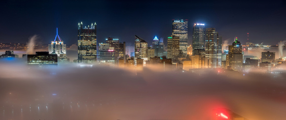 Panorama of Pittsburgh on a foggy morning from Mt. Washington