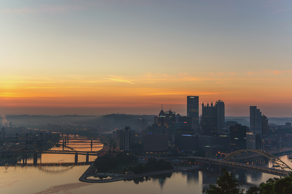 Red sky over Pittsburgh before sunrise