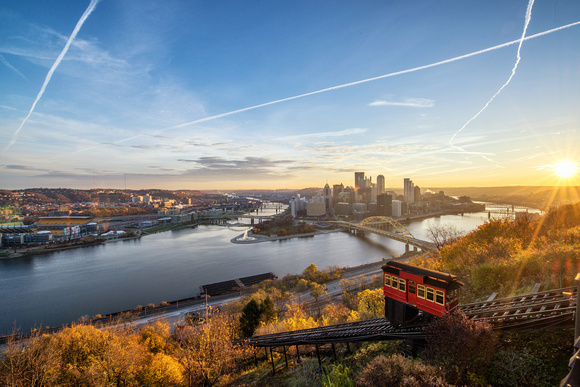 Sunrise over Pittsburgh from the Duquesne Incline station in the fall