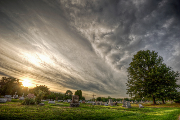 Clouds at Evans City Cemetery HDR