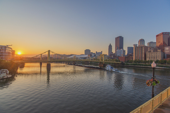 Barge on the Allegheny River in Pittsburgh at sunrise