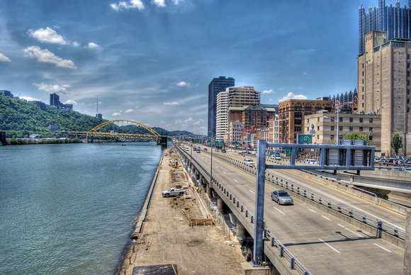Pittsburgh skyline from Liberty Bridge HDR