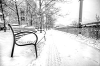 Snowy bench in Pittsburgh B&W HDR