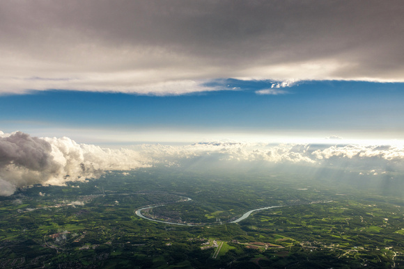 An aerial view of a storm moving out of Pittsburgh