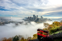 Fog surrounds Pittsburgh on a fall morning