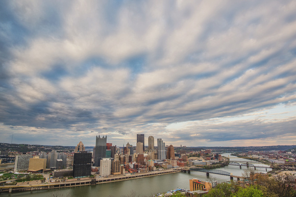 Dramatic clouds over the Pittsburgh skyline