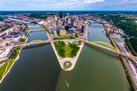 Aerial view of Pittsburgh from above the Ohio River