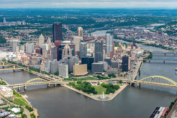 An aerial view of Pittsburgh on a sunny day