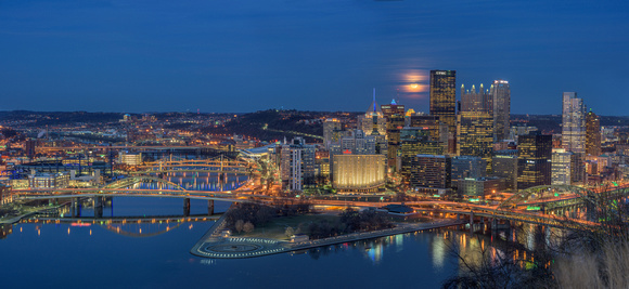 Panorama of the full over Pittsburgh at the blue hour - Print