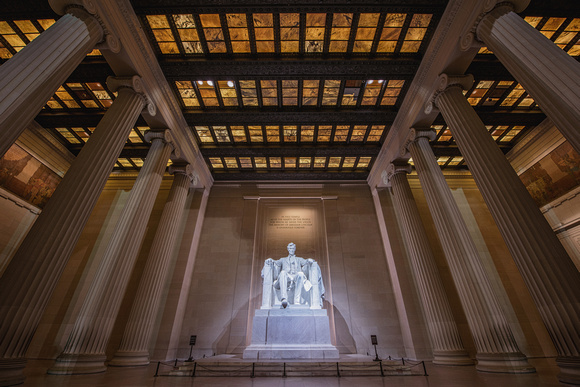 Inside the empty Lincoln Memorial in Washington DC