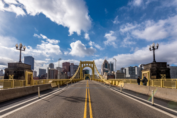 Sunlight shines on the Roberto Clemente Bridge in Pittsburgh