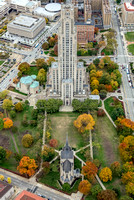 A straight on view of the Cathedral of Learning and Heinz Chapel on Pitt's campus in the fall