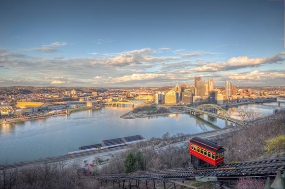 Duquesne Incline and Pittsburgh skyline HDR