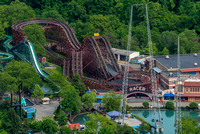 An aerial view of the Racer at Kennywood Park
