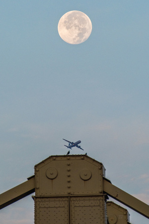 A bird, a plane and the full moon in PIttsburgh