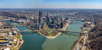 Aerial panorama of Pittsburgh on a beautiful spring day