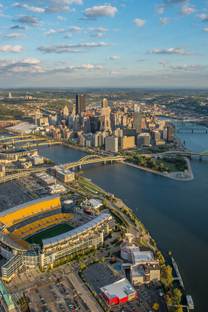 Aerial view of PIttsburgh skyline and Heinz Field