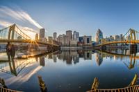 Fisheye view of the Pittsburgh skyline from the North Shore in the morning HDR