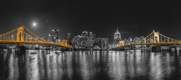 Panorama of the supermoon over the North Shore of Pittsburgh-Print