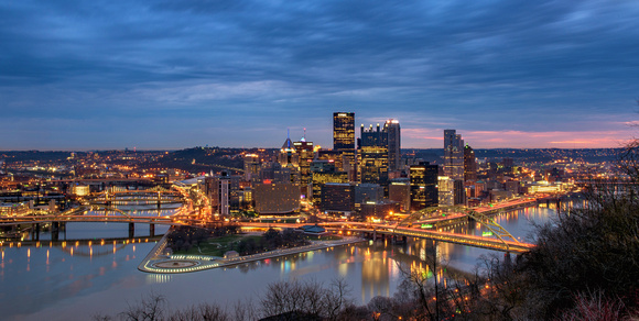 A hint of color on a cloudy morning in Pittsburgh