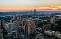 Pittsburgh skyline and Oakland at sunset from the roof of the Cathedral of Learning