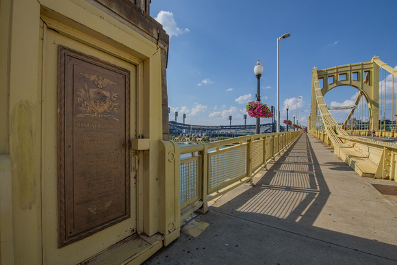 Walking over the CLemente Bridge in Pittsburgh