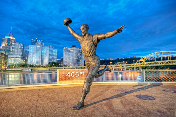Bill Mazeroski Statue and the Pittsburgh skyline HDR