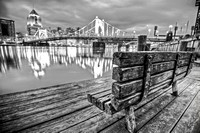 Bench in B&W on the North Shore of Pittsburgh HDR