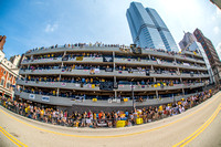 The famous parking garage along the Pittsburgh Penguins Victory Parade route