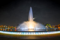 The moon and the fountain at Point State Park in Pittsburgh