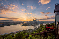 The Duquesne Incline station at sunrise in Pittsburgh