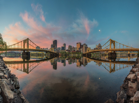 Panorama of beautiful sunrise on the North Shore of Pittsburgh