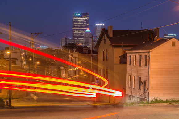 Light trails on the North Side of Pittsburgh