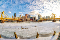 Fisheye view of the Pittsburgh skyline on a cold winter day from the North Shore