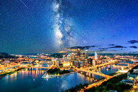 A composite of the Milky Way over the Pittsburgh skyline