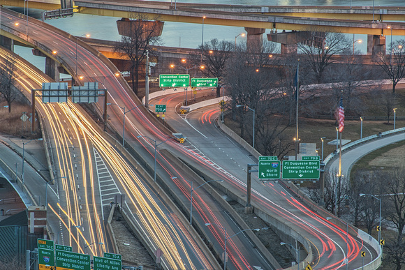 Light trails on the interchange at the Point in Pittsburgh