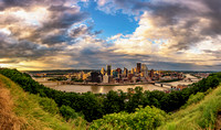 Panorama of a beautiful skyline over Pittsburgh at dusk