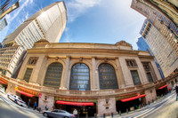 A fisheye view of the outside of Grand Central Station