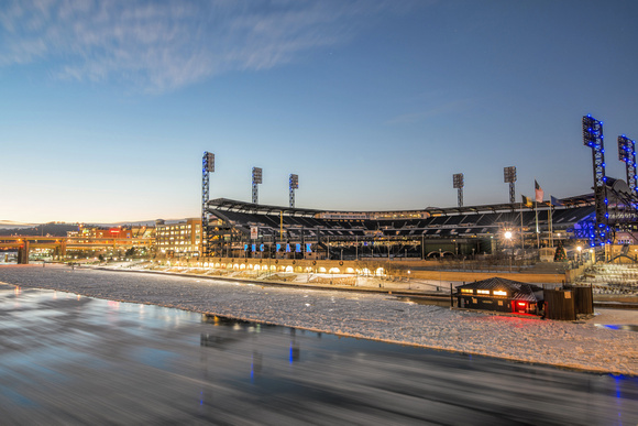 Ice flows on the Allegheny River near PNC Park in Pittsburgh