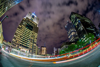 Highmark Building and downtown fisheye view at night