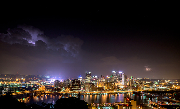 Lightning strikes bookend dowtown Pittsburgh