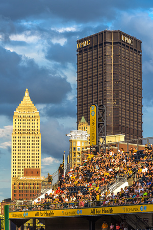 Golden light on Pittsburgh and PNC Park at dusk