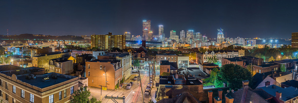 Panorama of Pittsburgh from the North Side at night on the roof