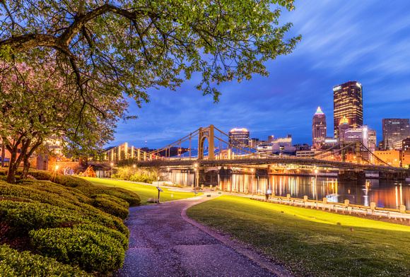Trees on the North Shore frame the walkway as Pittsburgh glows under cloudy skies