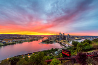 The Duquesne Incline climbs Mt. Washington during a beautiful sunrise in Pittsburgh