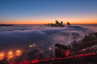 Incline on Mt. Washington over a fog covered Pittsburgh