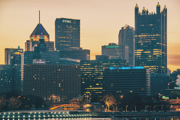 Close view of Pittsburgh from the South Shore at dawn