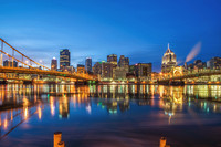 Reflections of the Pittsburgh skyline in the Allegheny River in the morning