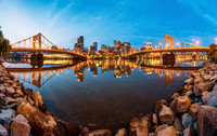 Panorama of the Pittsburgh skyline along the North Shore